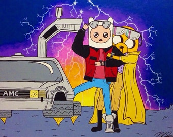 "Adventure Time Finn and Jake / Back to the Future Mash Up Art Print 8"" x 10"""