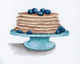 Pancake Watercolor, Food Painting, Blueberry Art, Kitchen Decor, Food Art, Original Watercolor, Breakfast Art, Kitchen Art