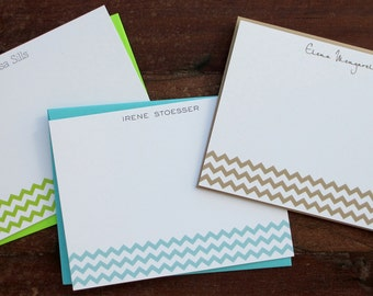 Flat Notecards -- Simple Chevron // Custom Notecards // Personalized Stationery // Chevron Notecards // Bridesmaid Gift // Coworker Gift