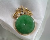 Gorgeous large Chinese green Jade Disc pendant, 18k 750 gold 0.21ct diamonds pendant, Birth stone, christmas gift, oriental gift,certificate