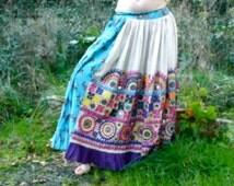 Kalbeliya skirt india gypsy rajasthan blue flowers