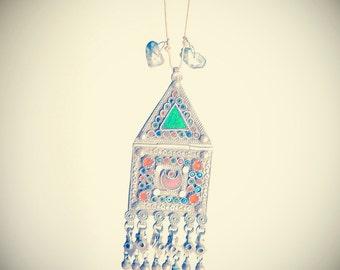 Big necklace Kuchi vintage rajasthan silver turkmen