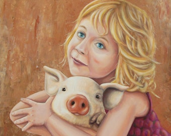 Oil painting depicting a little girl hugging a pig-51 x 52 cm