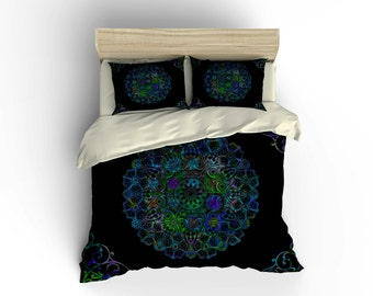 Bedding Set-Bohemian Boho Chic Medallion Duvet  Cover Set With Pillow Shams Twin Queen or  King