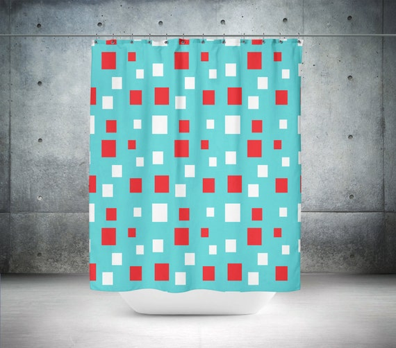 Shower Curtain Retro Chic Teal Red White Squares