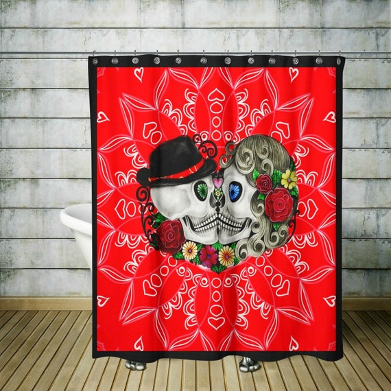 Sugar Skull Shower Curtain -Day Of The Dead- Forever More Skulls Red ...