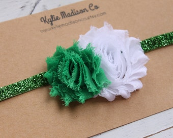 St. Patrick's Day headband, baby headband, white and green flowers on green glitter elastic