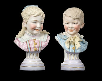 Large pair of superior quality hand painted German bisque children's busts antique