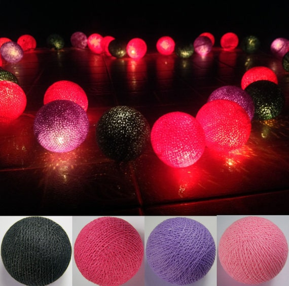 Mix Hot Pink Cotton Ball String Lights Fairy lights Party
