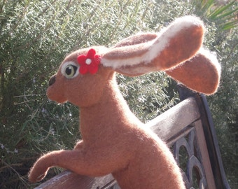 Sienna - a needle-felted chocolate Hare