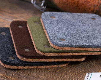 Square felt coasters (4 in set), Drink coasters, Thick felt coasters, Felt table decor, Various color, Hostess Gift