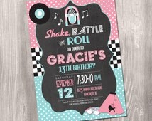 50's Birthday Invitation, Fifties Birthday Invitation, 50's Invitation, Sock Hop Birthday Invitation, 50's Sock Hop Invitation, Printable