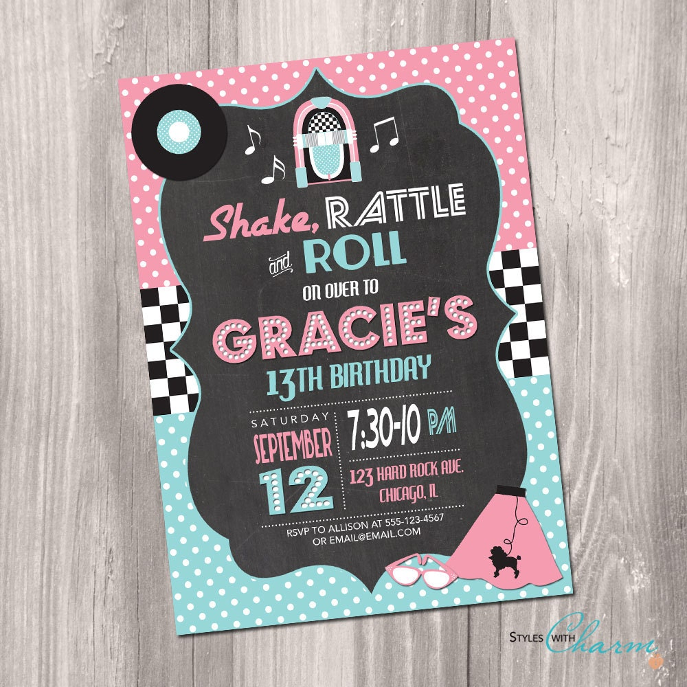 Rock n roll party – Rock and Roll Party Invitations