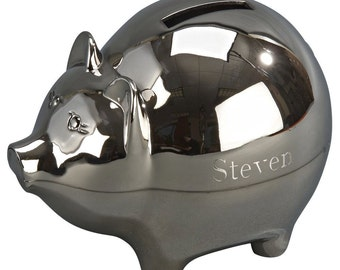 Personalized Piggy Bank With Either A Matte or Polished Silver Finish Baby Gift - Gift For New Baby