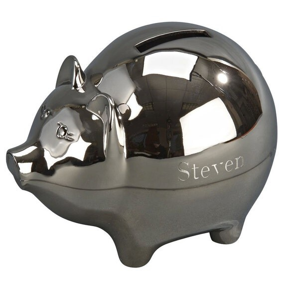 Personalized piggy bank with either a matte or polished silver - Engraved silver piggy bank ...