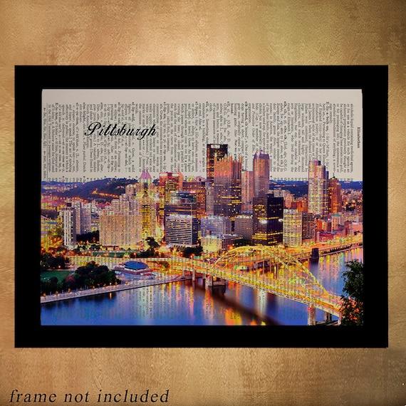 Home Decor Pittsburgh Pa: Pittsburgh Skyline Dictionary Art Print Wall Art Home Decor