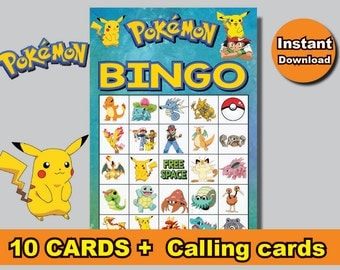 INSTANT DL-  Pokemon Bingo 10 cards + calling cards Printable party birthday game  (NOT editable)