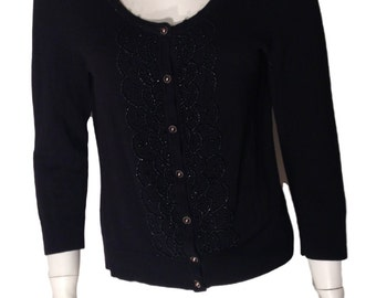 Vintage Cable & Gauge Beaded Black Cardigan Sweater - Size Medium