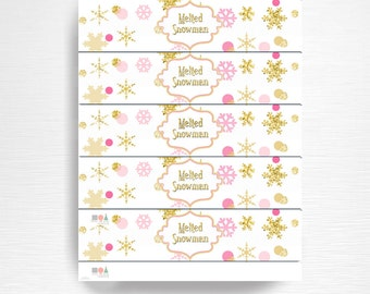 Melted Snowman Birthday Party Water Bottle Labels Instant Download Pink Gold Winter Wonderland