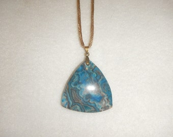 Triangular Blue Crazy Lace Agate pendant (JO357)