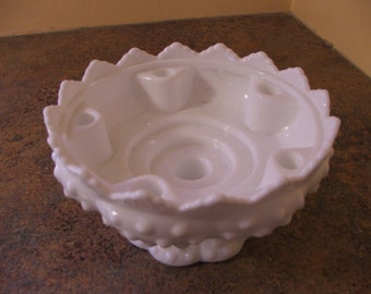 Vintage 1960s Fenton White Milk Glass Hobnail Six-Candle holder centerpiece