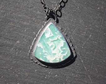 Ochoco Tube Agate, Over Chrysocolla, Sterling Silver, Pendant, with Rustic Boarder