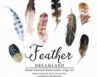 Watercolor clip art collection-Feather Dreamland/Boho style/Wedding//Hand painted watercolour clip art / Individual PNG files