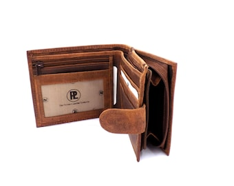 Men's Handmade Leather Wallet in BrownTan with Zip Coin Pocket by Premium Leather