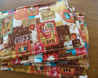 Reversible placemats,Set of 4 placemats,coffee placemats,brown  placemats,fabric placemats,table placemats,classic placemats,washable place