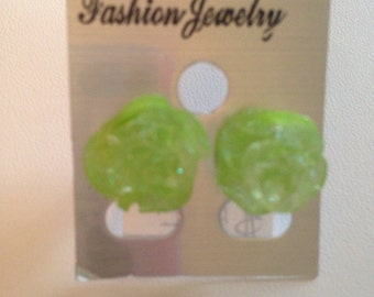 Lime Glitter Rose Post Earrings - Resin Roses on Silver Plated Post Earring