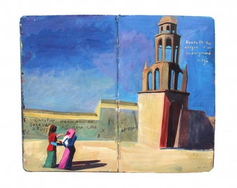 "Fine Art Print - Original Turkish Landscape Painting from Artist Travel Journal - ""Aksaray Mosque"""