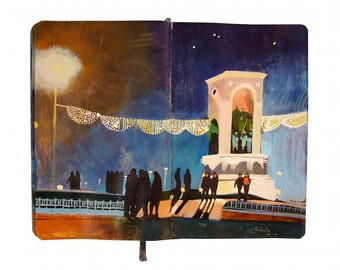 "Fine Art Print - Original Istanbul Cityscape Painting from Artist Travel Journal - ""Taksim Square Lights"""