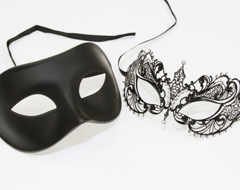 Classic Black Couples Mask Venetian Masquerade Mask, Mardi Gras, Wedding, Prom