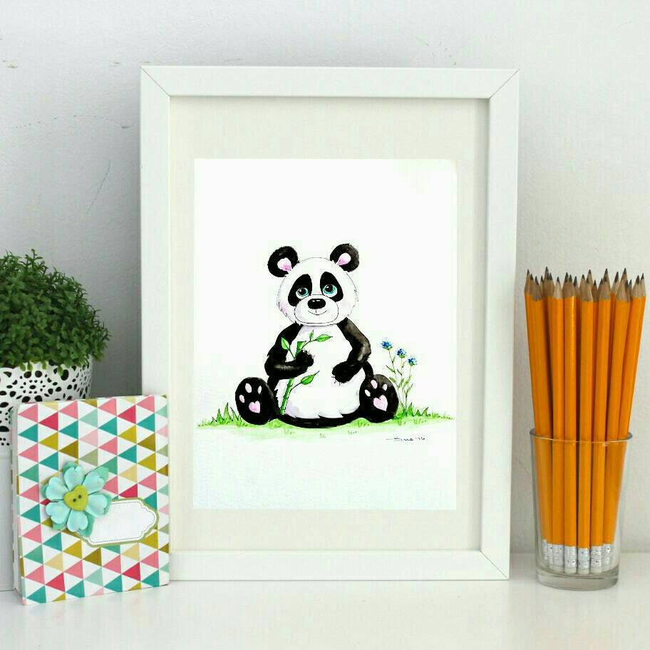 Black And White Nursery Wall Decor : Panda print watercolour art nursery wall black and white
