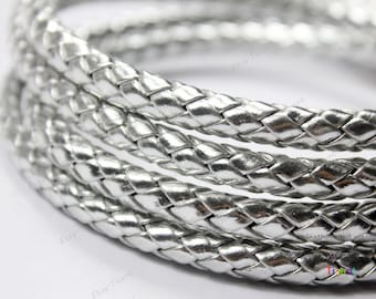 8mm/7mm Diameter Silver Braided Leather, 8mm Round Silver Leather Cord-QTY. 1 Yard RLG8M-67