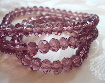 4x6 Deep Pink Amethyst Rondelles. 100pc Regular or Pearl. Wine Pink Loveliness! Long 18.5 inch Strands.  ~USPS Ship Rates from Oregon