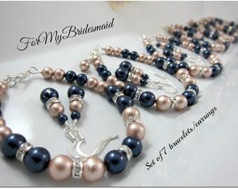 set of 7 bridesmaids Bracelet and earrings, 7 bridesmaid gift Simple pearl bracelet & earrings, bridesmaid Champange almond blue jewelry