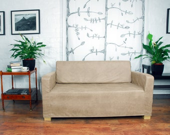 Ikea Solsta Sofa Bed Cover in Vintage Distressed Leather Look fabric