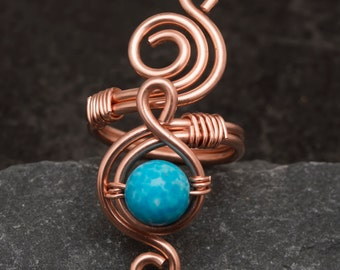 Wire wrapped Copper adjustable ring ,copper ring, wire wrapped copper ring .