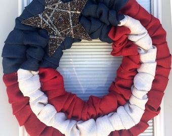 4th Of July Burlap Wreath - Patriotic -  July Wreath  - 4th of july Decor - Flag Wreath - Summer Wreath - Military