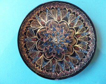 Lacquered Plate made in Mexico etched in 23 K  gold Wood Base  made by hand Artist Beatriz Ortega Ruiz