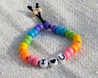 Rainbow I <3 U Bead Bracelet