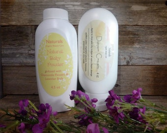 Natural Baby Powder & Diaper Cream Duo 4oz Each Gentle and Organic