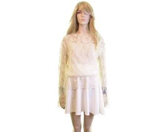 chantilly lace blouse cream sheer lace blouse victorian blouse edwardian blouse romantic lace dress blouse steampunk blouse 80s blouse women
