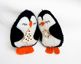 Penguin ornament felt, set of 2, handmade, Christmas ornament, Birthday gift, nursery decor, home decoration
