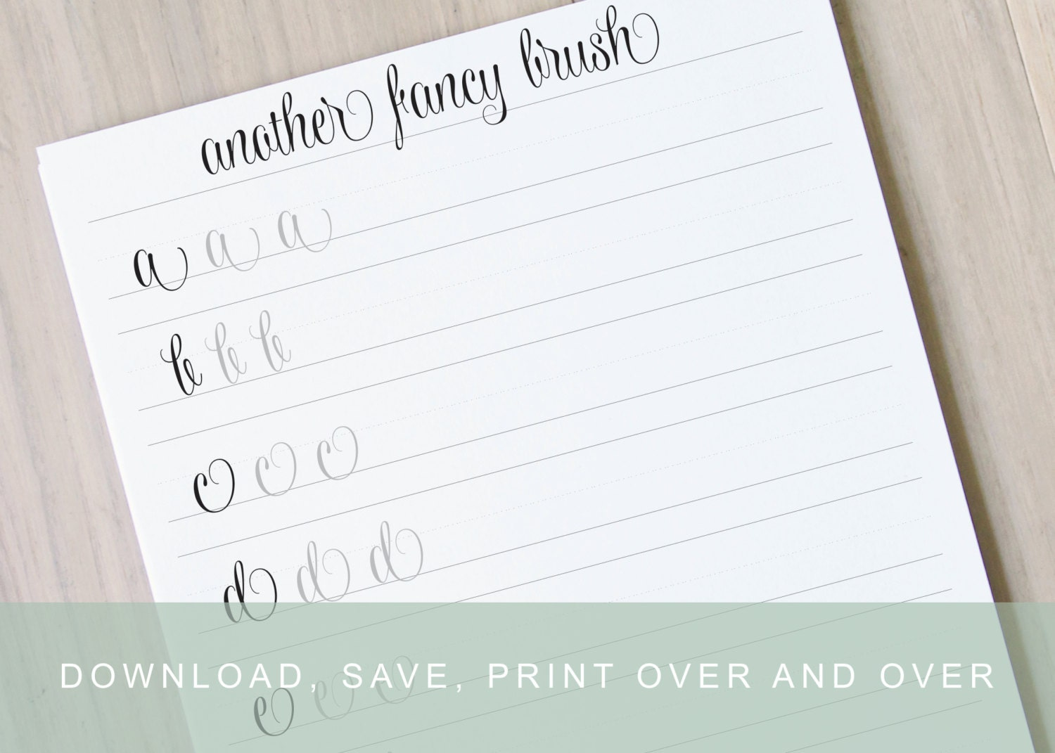 Another Fancy Lower Case Brush Lettering Worksheets