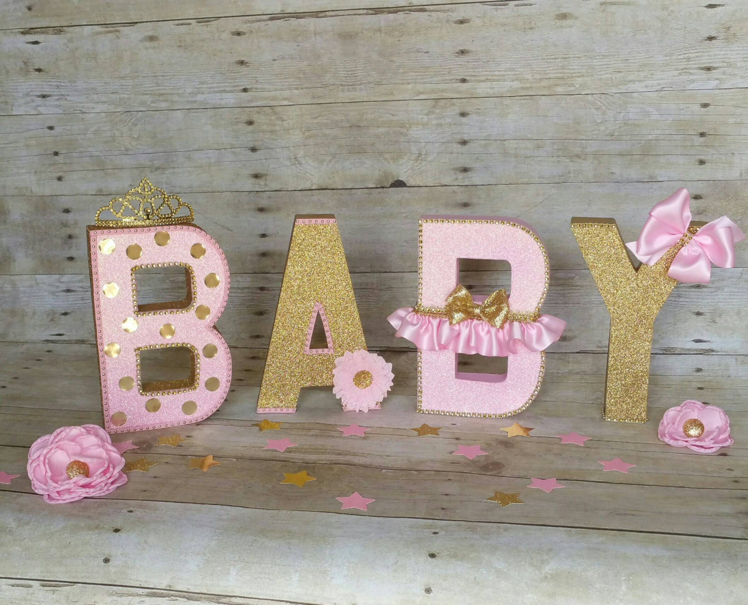 Girl baby showerpink and gold baby by heidipartycreations for Baby shower foam decoration