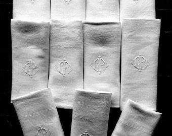 11 beautiful and large towels art déco linen damask, floral decoration, Monogram CF