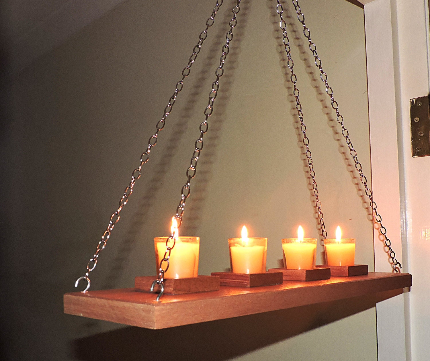 Wall ceiling hanging rustic candle holderrustic moder wooden for Hanging candles diy