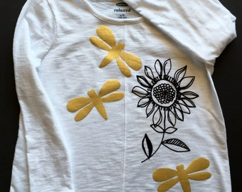 Girl's T-Shirt ,Size 10/12, Long Sleeve, Hi-Lo hem, solid white T-Shirt with flocked black flower and metallic gold dragonflies